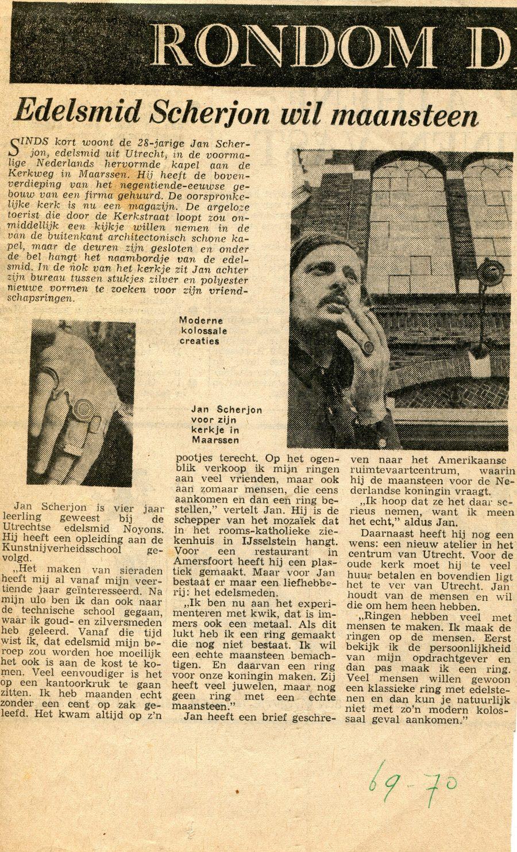 Jan Scherjon, portret, krantenartikel