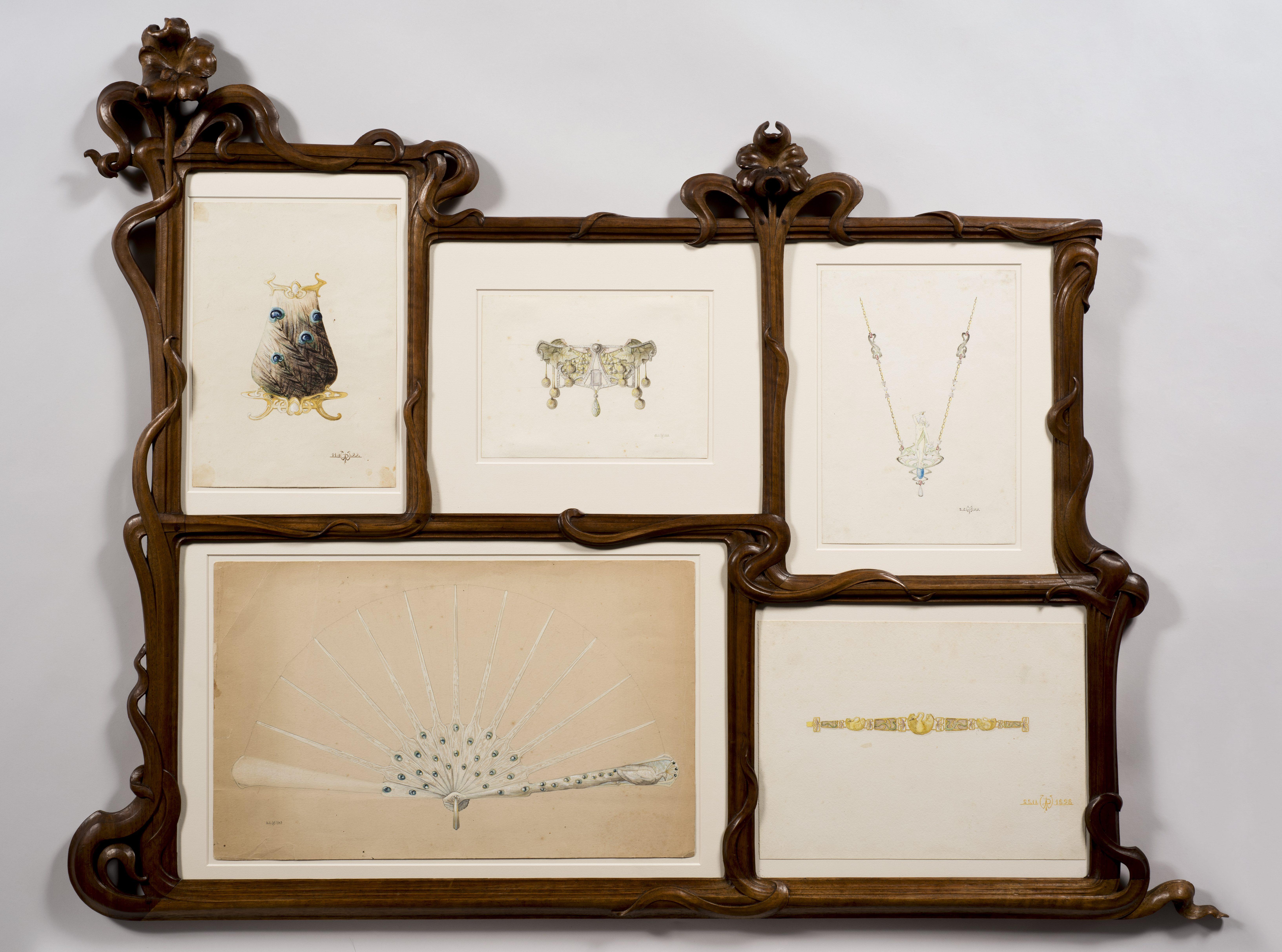 Philippe Wolfers, Lijst met ontwerptekeningen, circa 1897. Collectie Koning Boudewijnstichting, foto Jubelparkmuseum, hout, papier, glas, tekeningen