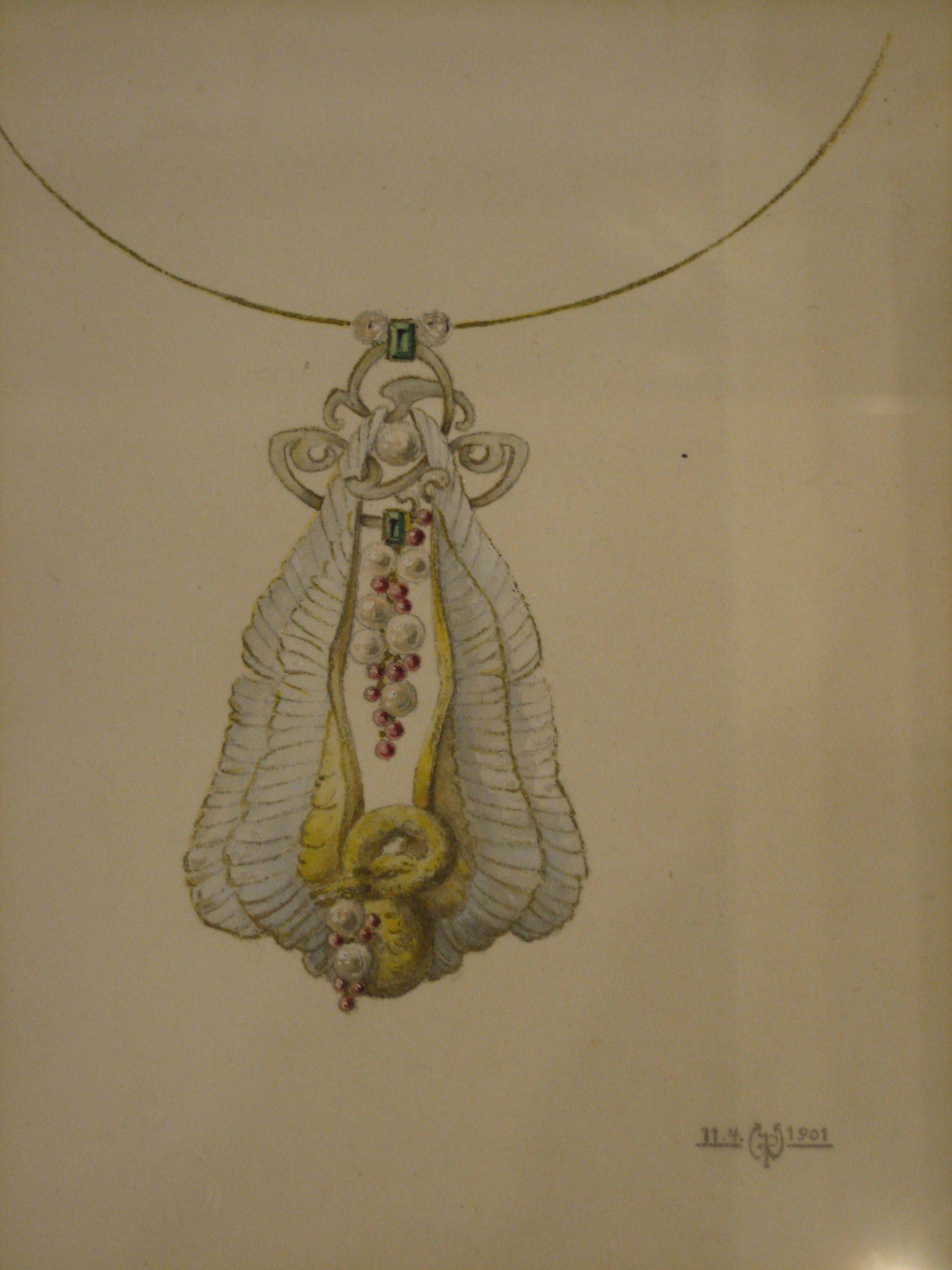 Philippe Wolfers, Zwaan, halssieraad, ontwerptekening. Collectie Koning Boudewijnstichting, papier