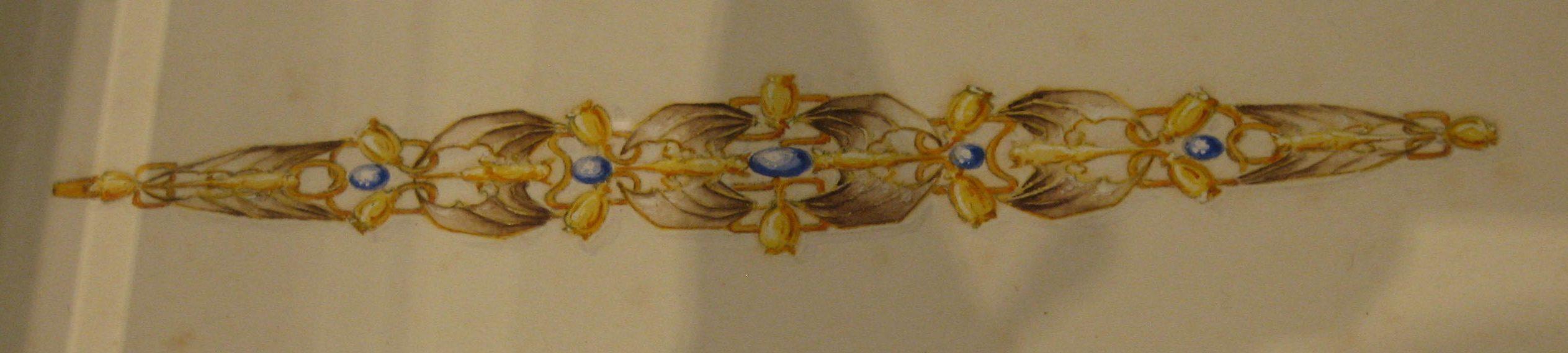 Philippe Wolfers, Vleermuizen en papavers, ontwerptekening, 17 juni 1899. Collectie Koning Boudewijnstichting, papier