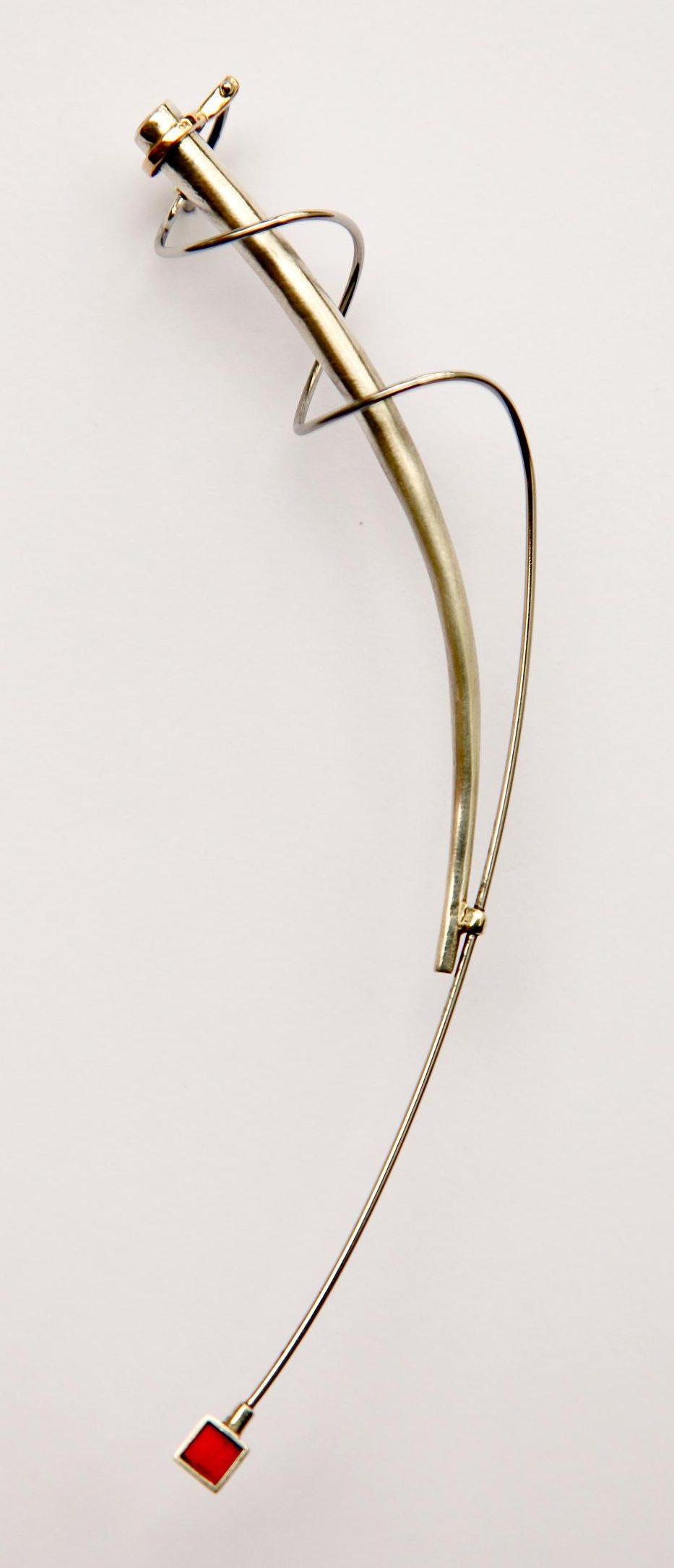 Karel Betman, broche, goud, zilver, aluminium, roestvrij staal