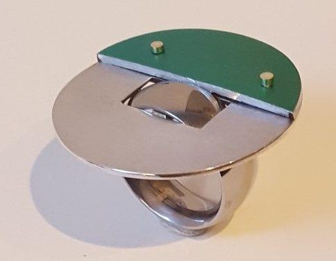 Karel Betman, ring, circa 2018, zilver, roestvrij staal, aluminium