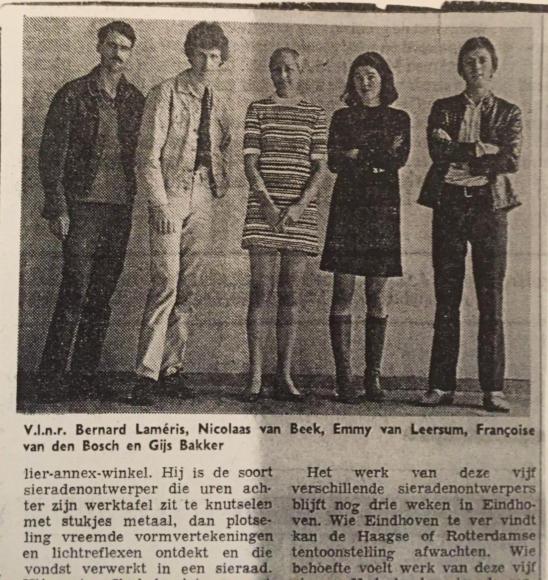 Bernard Laméris, Nicolaas van Beek, Emmy van Leersum, Françoise van den Bosch en Gijs Bakker, portret, krant, drukwerk, papier