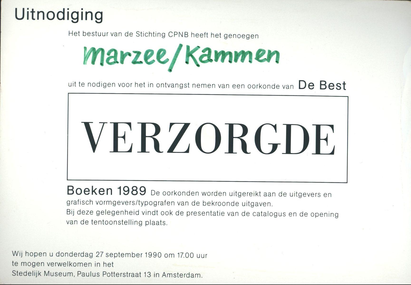 Uitnodiging Best Verzorgde Boeken, 1989. Foto met dank aan Galerie Marzee©