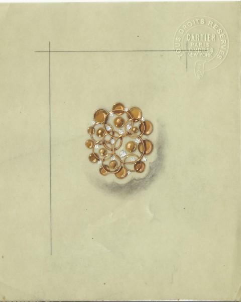 Cartier, ontwerptekening. Foto Grafische Sammlung Stern, papier, verf, blinddruk