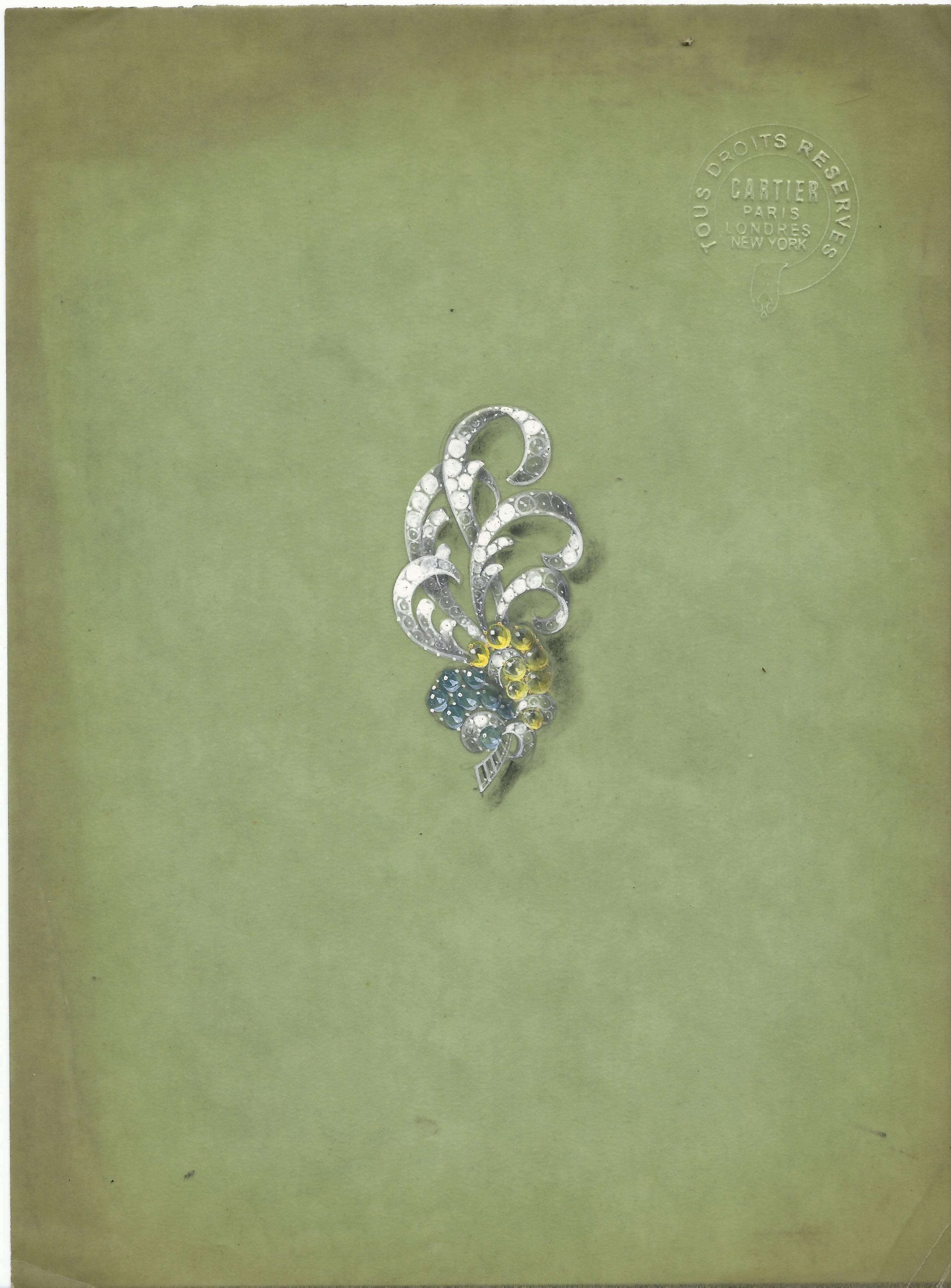 Cartier, ontwerptekening. Foto Grafische Sammlung Stern, papier, blinddruk, verf