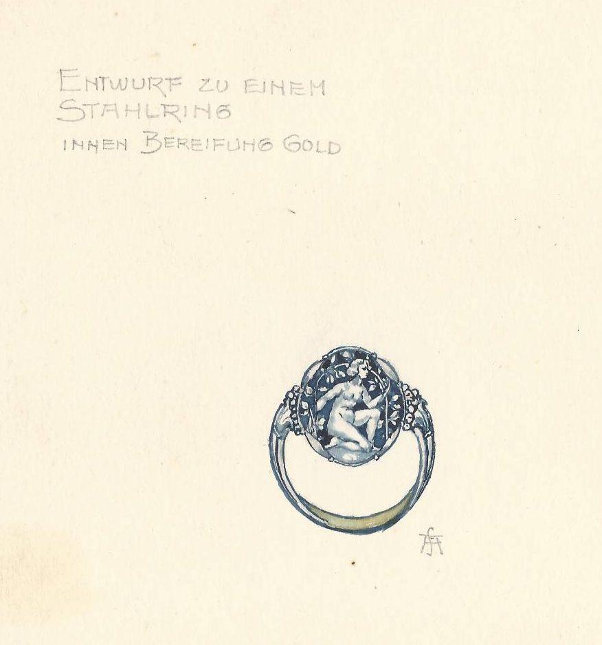 F. Anders, ontwerp voor een ring, tekening. Foto met dank aan Grafische Sammlung Stern©