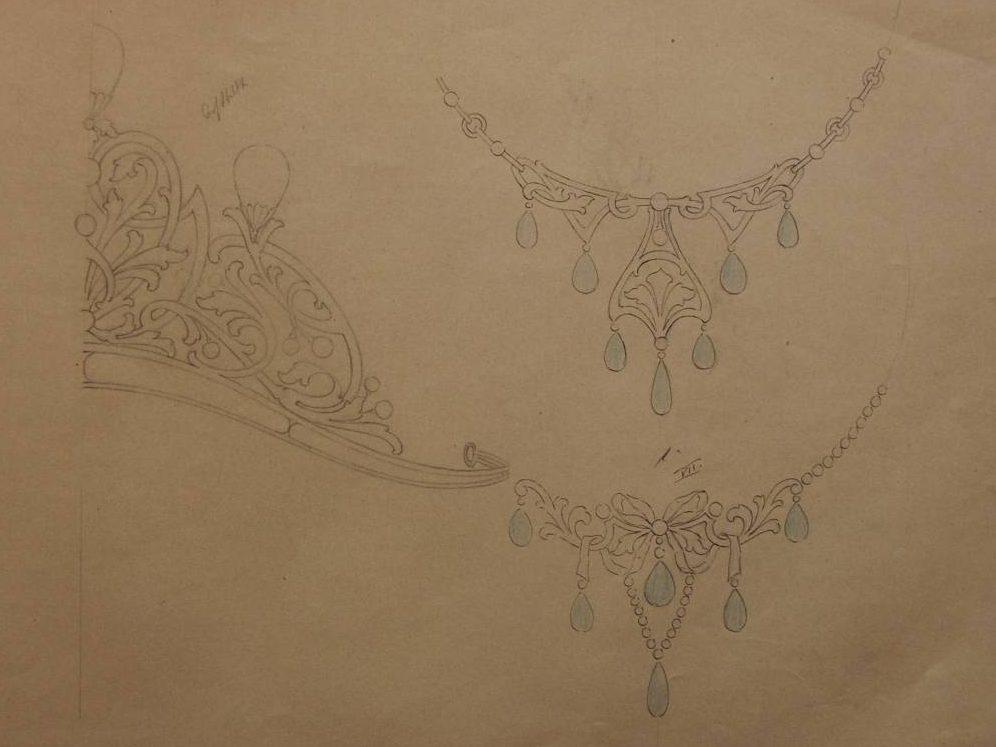 Karl Brauburger, ontwerptekeningen voor diadeem en halssieraden uit monsterboek, 1902-1904. Foto met dank aan Grafische Sammlung Stern©