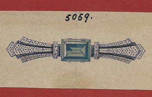Cheva, ontwerptekening broche, 1930-1940. Foto met dank aan Grafische Sammlung Stern©