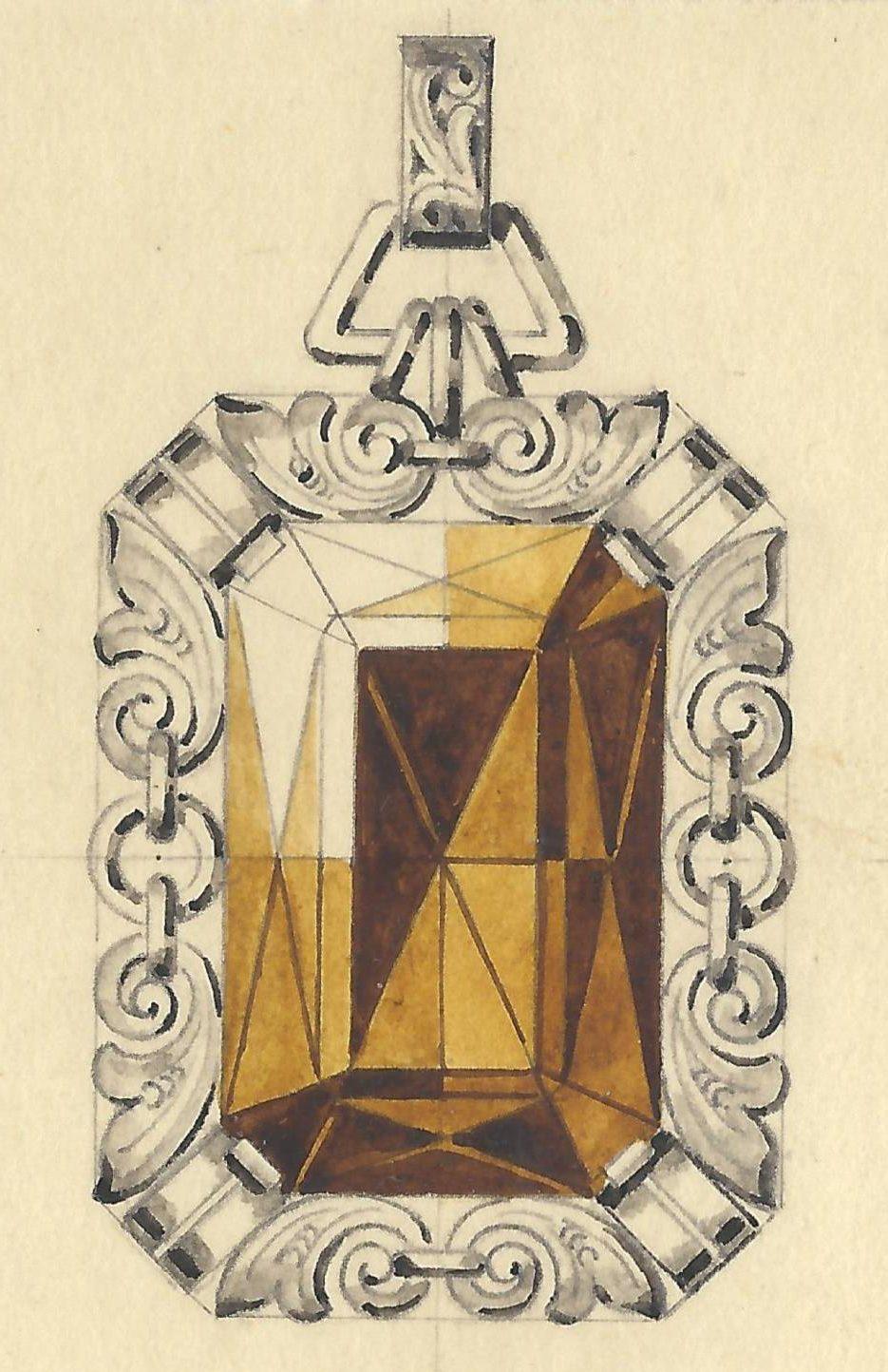 Fritz Eberle, ontwerptekening hanger, 1940-1960. Foto met dank aan Grafische Sammlung Stern©