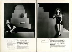 10 Jaar Ra, bladzijde 44 en 45, Paul Derrez en Beppe Kessler, 1986, foto's Anna Beeke, portret, drukwerk, papier, halssieraad, kunststof, kurk, zilver