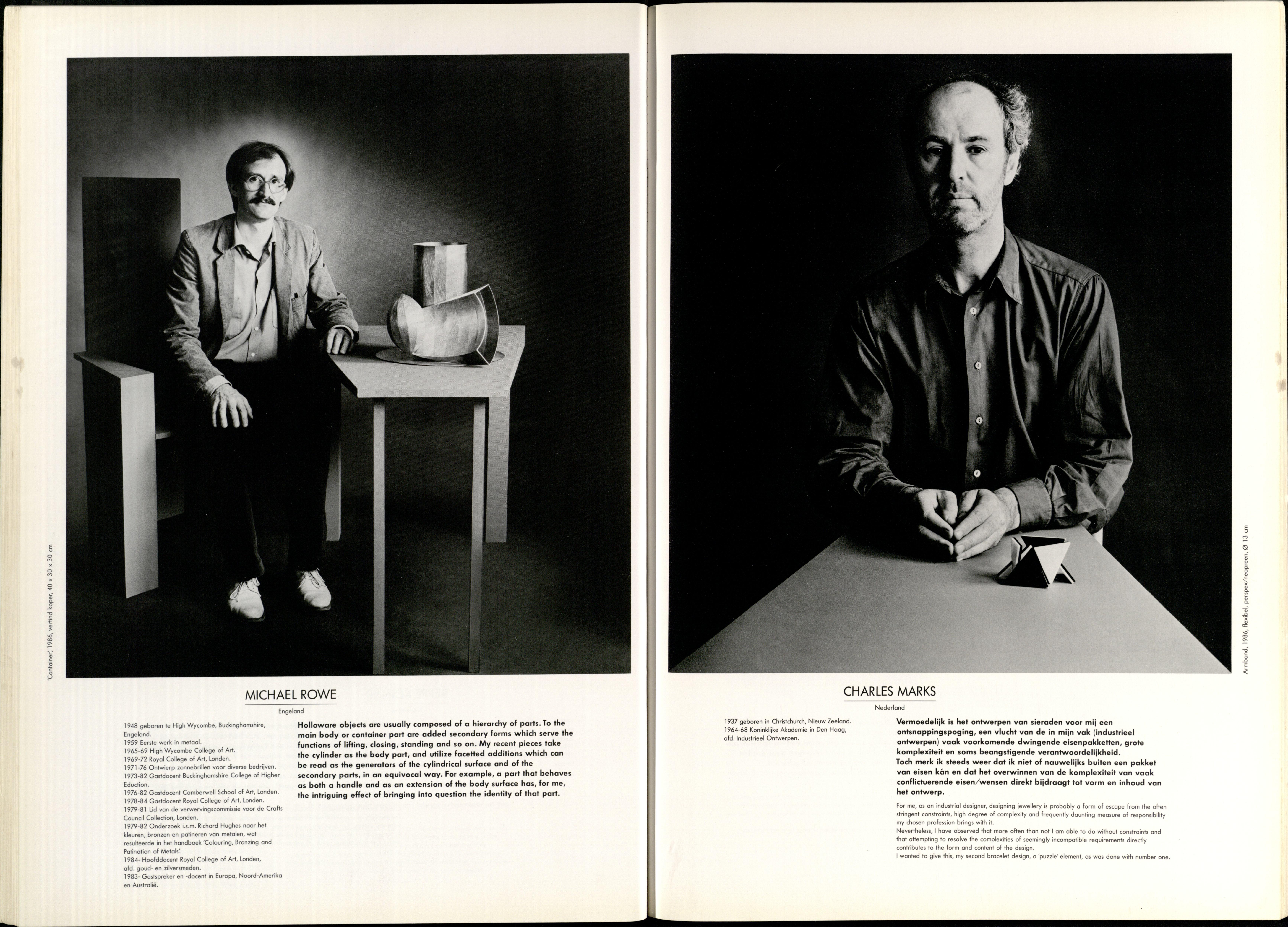 10 Jaar Ra, bladzijde 46 en 47, Michael Rowe en Charles Marks, 1986., foto's Anna Beeke, drukwerk, papier, portret, armband, perspex