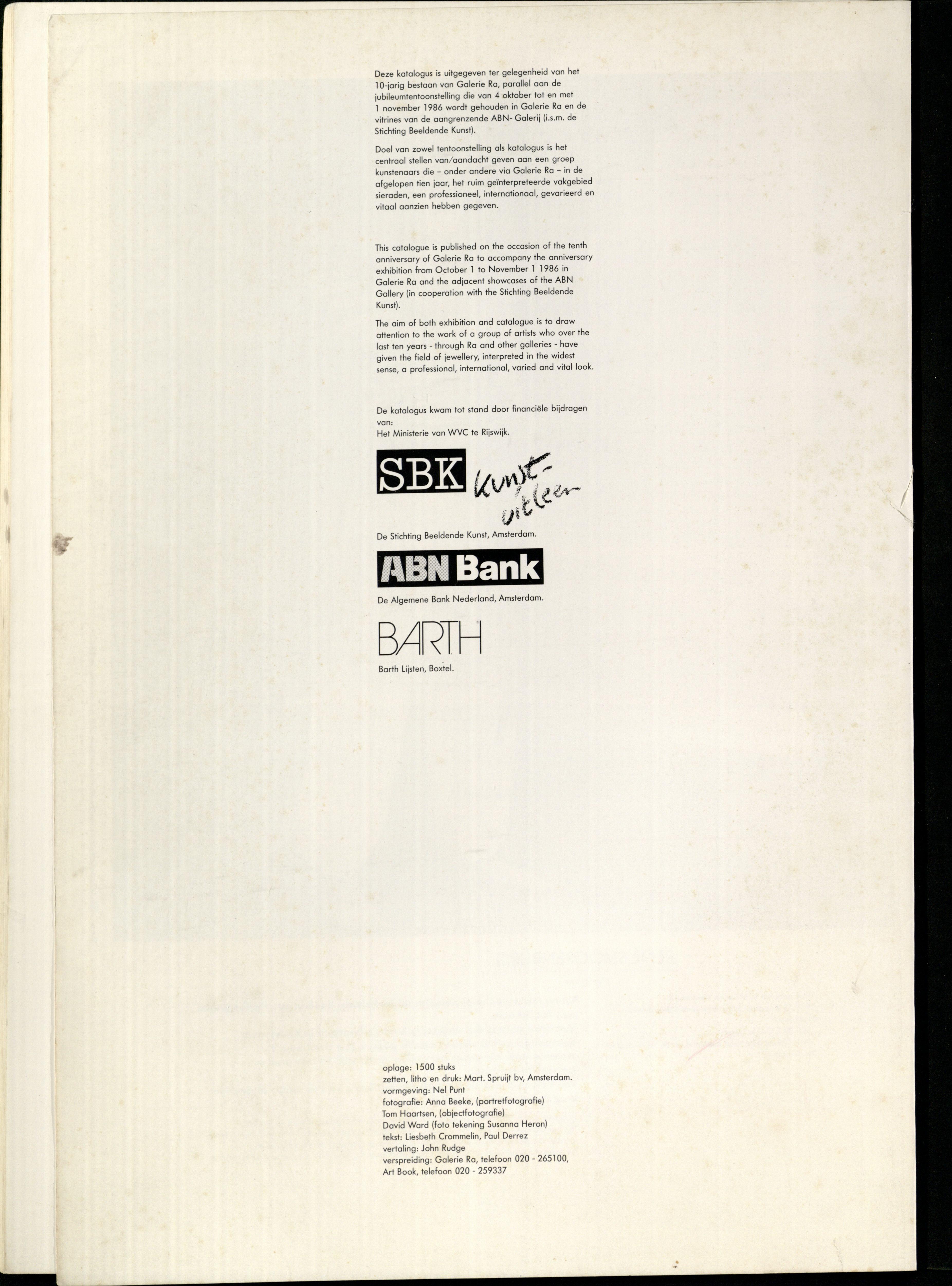 10 Jaar Ra, bladzijde 78. Colofon, drukwerk, papier, Galerie Ra