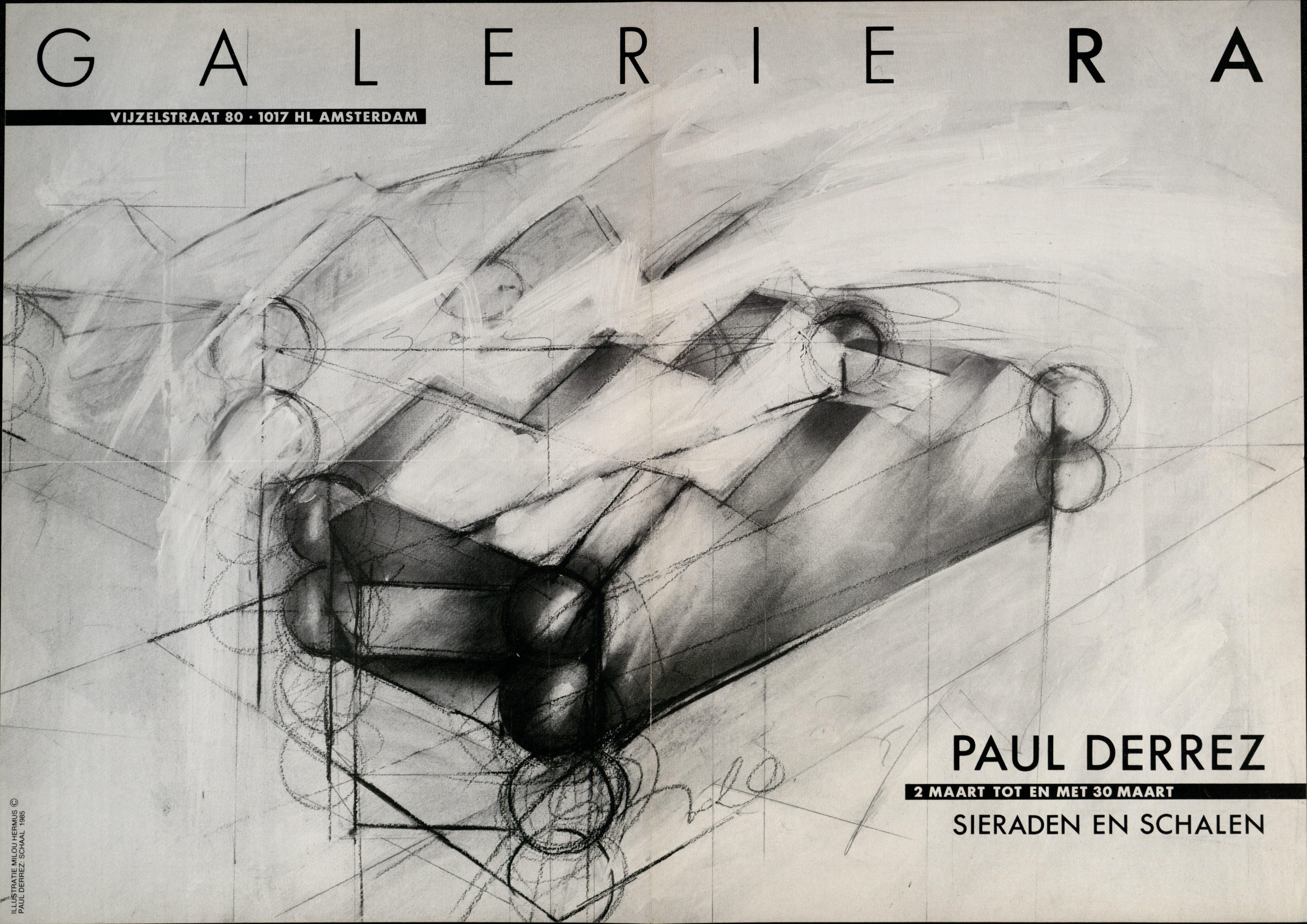 Ra Bulletin 16, februari/maart 1985, voorzijde met illustratie door Milou Hermus van schaal van Paul Derrez, papier, drukwerk