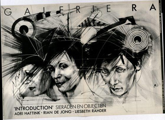 Ra Bulletin 19, juli/augustus 1985, voorzijde met illustratie door Milou Hermus met haarsieraden van Liesbeth Rahder, drukwerk, papier