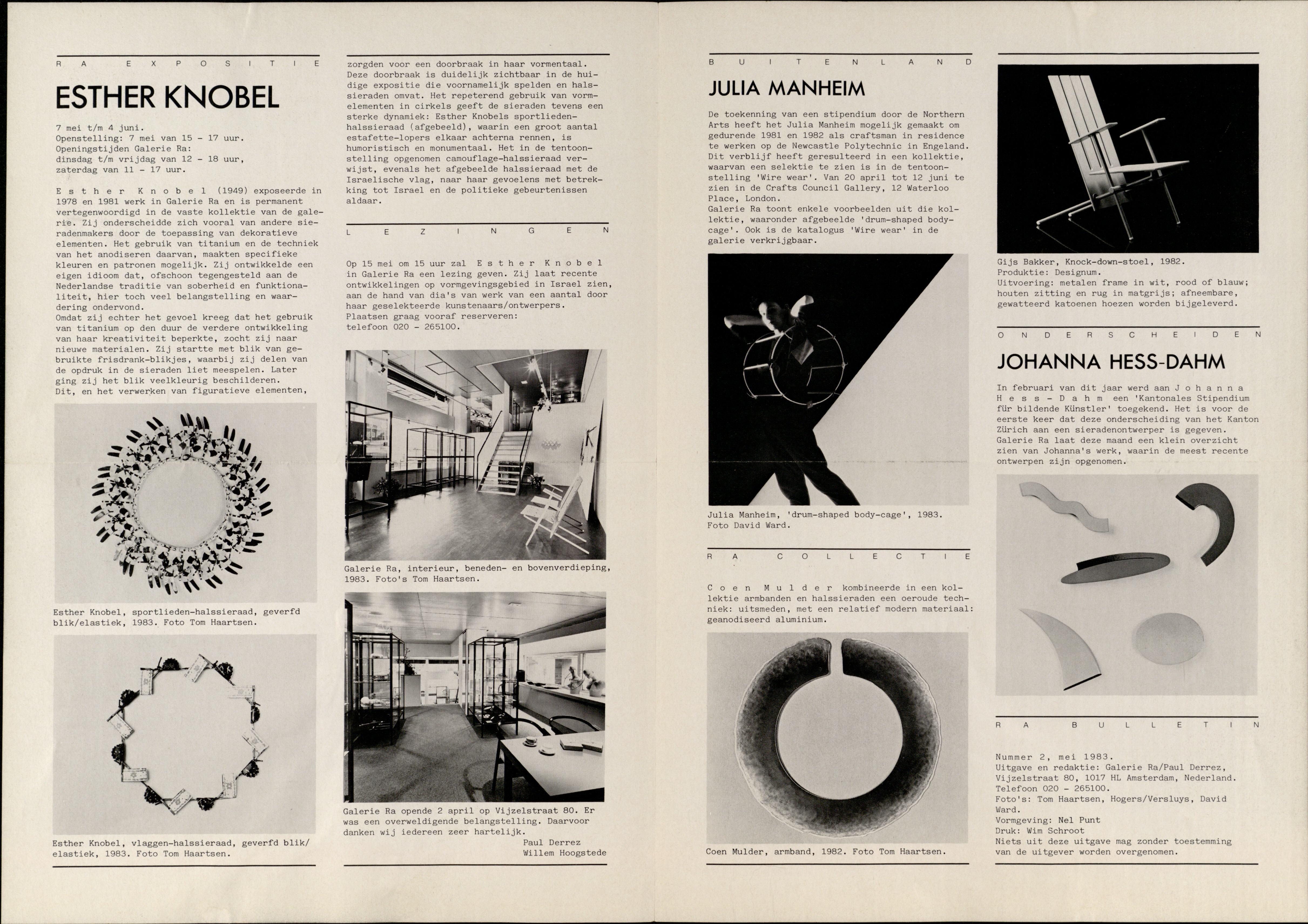 Ra Bulletin 2, mei 1983, achterzijde met tekst en foto's Tom Haartsen, David Ward, drukwerk, papier, Esther Knobel, Julia Manheim, Johanna Dahm, Gijs Bakker