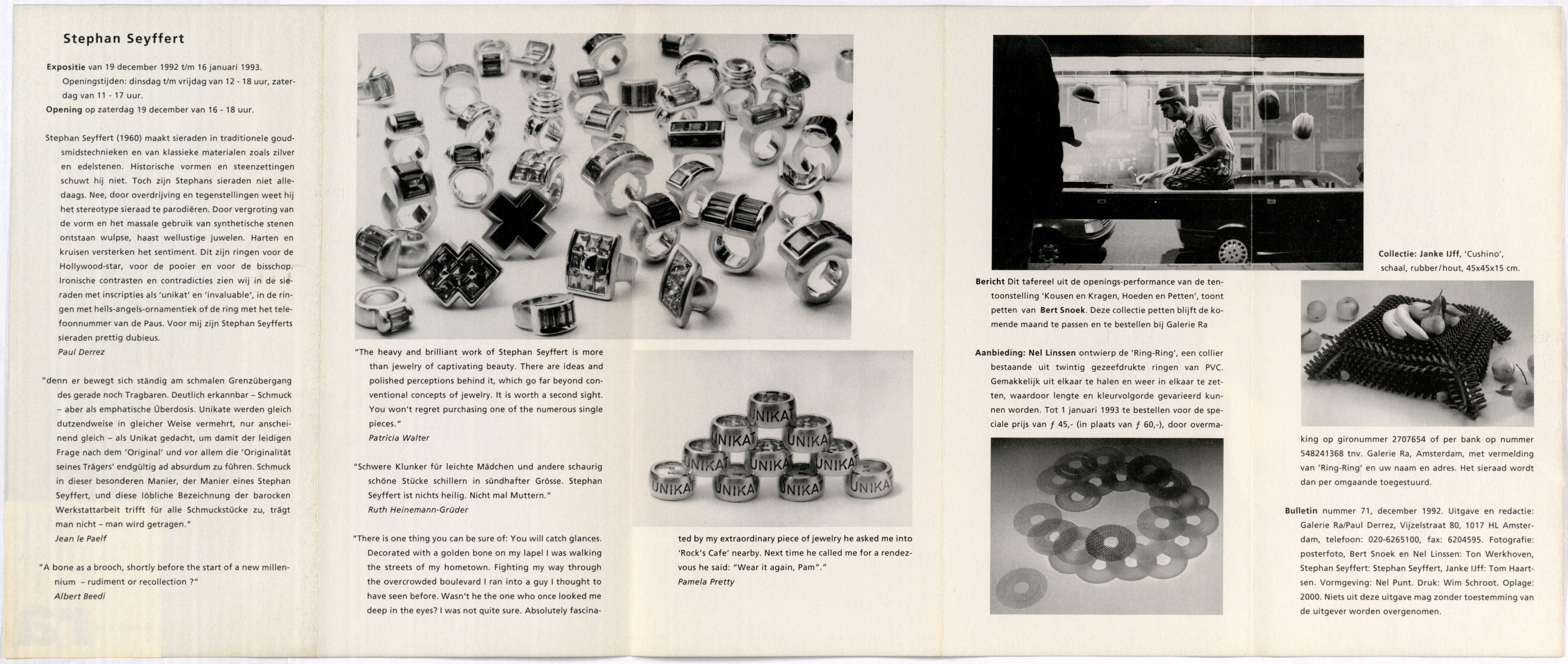 Ra Bulletin 71, december 1992, achterzijde met tekst en foto's van Tom Haartsen en Stephan Seyffert, drukwerk, papier, Stephan Seyffert, ringen, halssieraad, Nel Linssen, pvc, Janke IJff, stenen, zilver