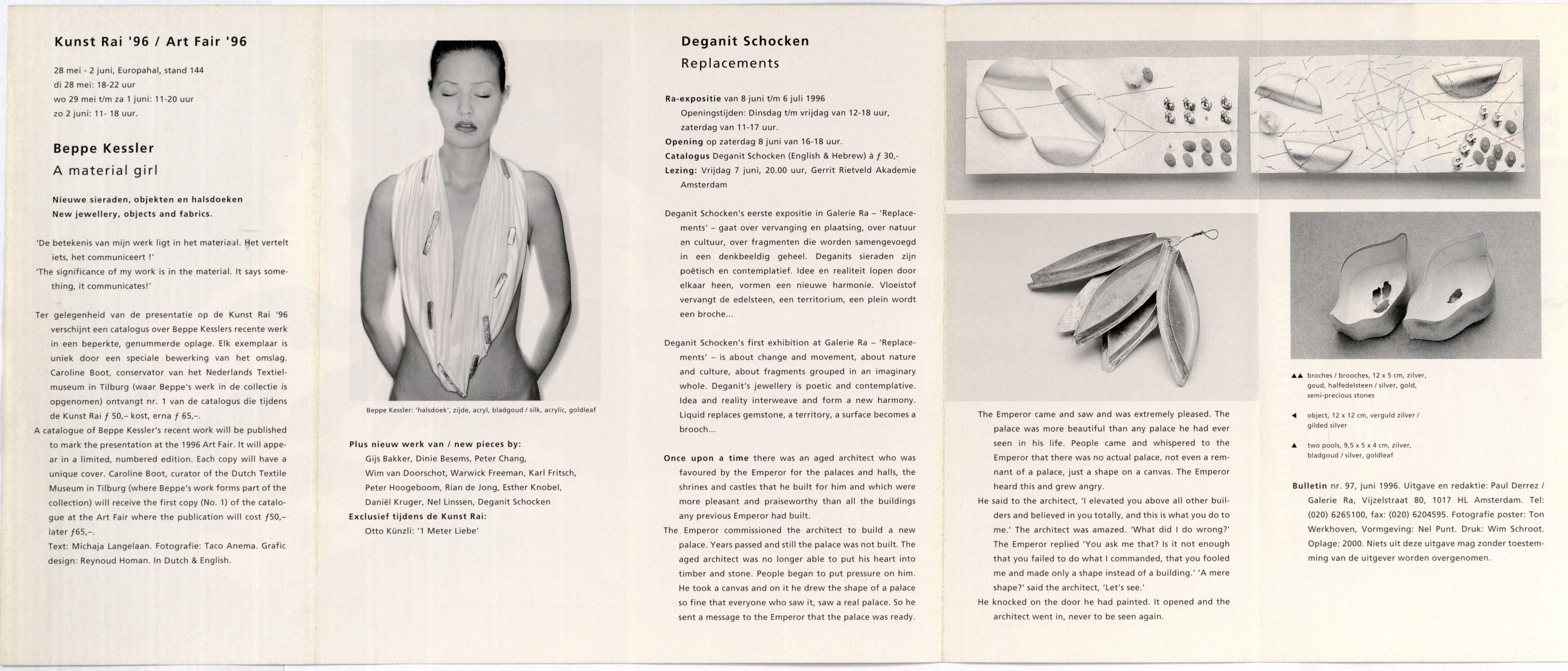 Ra Bulletin 97, juni 1996, achterzijde met tekst en foto's, Beppe Kessler, sjaal, zijde, acryl, bladgoud, Deganit Stern Schocken, zilver, goud, stenen