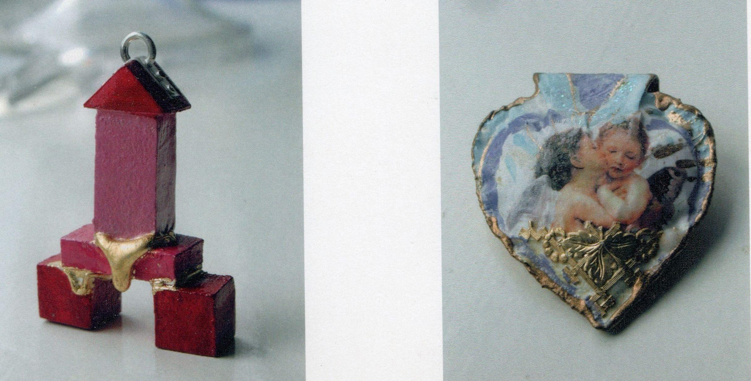 Petra Hartman, hanger en broche, hout, metaal, verf
