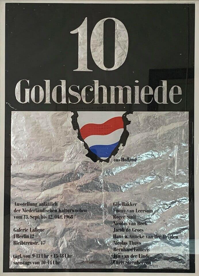 10 Goldschmiede, Galerie Lalique, Berlijn, 1968. Foto Gigi Laméris, affiche, tentoonstelling