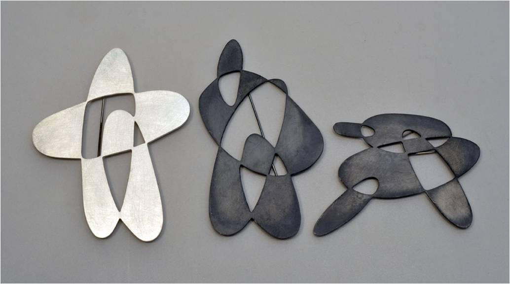 Vered Kaminski, Loops, broches, 2011, zilver, edelstaal