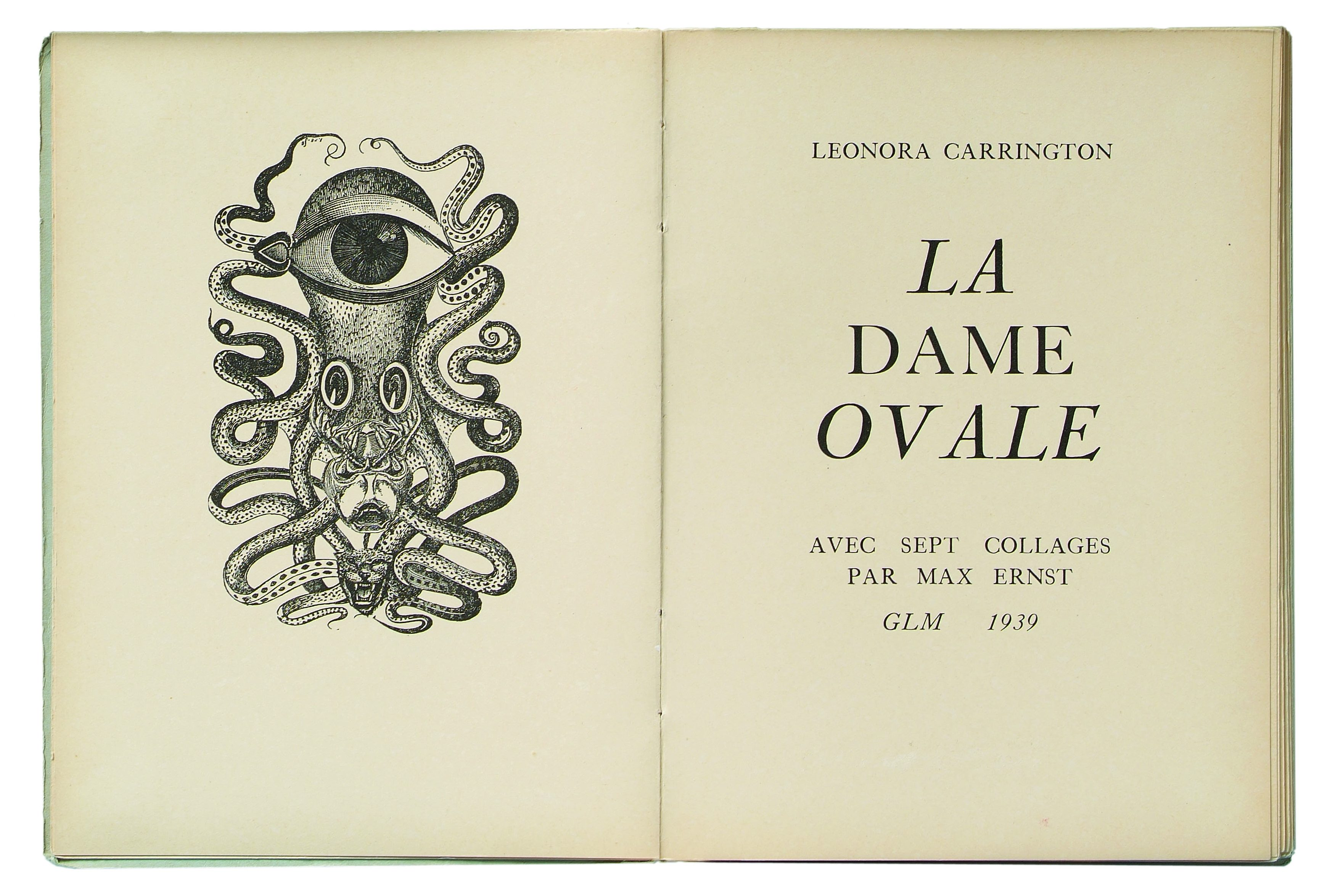 Max Ernst, illustratie La dame ovale, 1939. The Würth Collection, papier, drukwerk, boek, Leonora Carrington