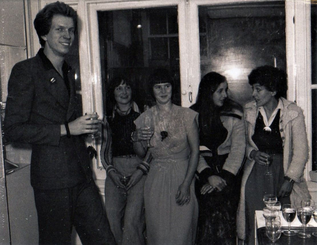 5 Jarig jubileum Galerie Sierraad, 1974: Hans Appenzeller, Monika The, Lous Martin, Carine Wintermans, Marion Herbst, portret