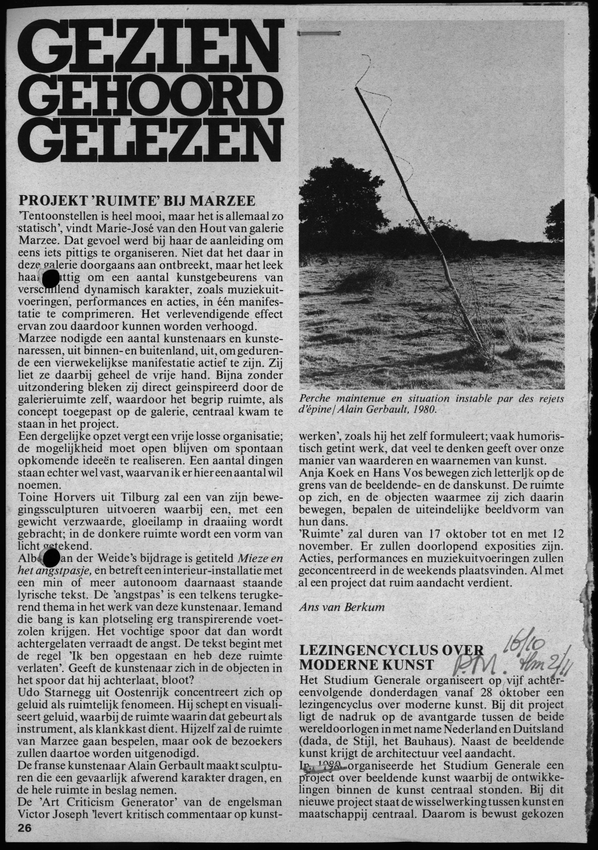 Knipsel Galerie Marzee, 1982, drukwerk, papier