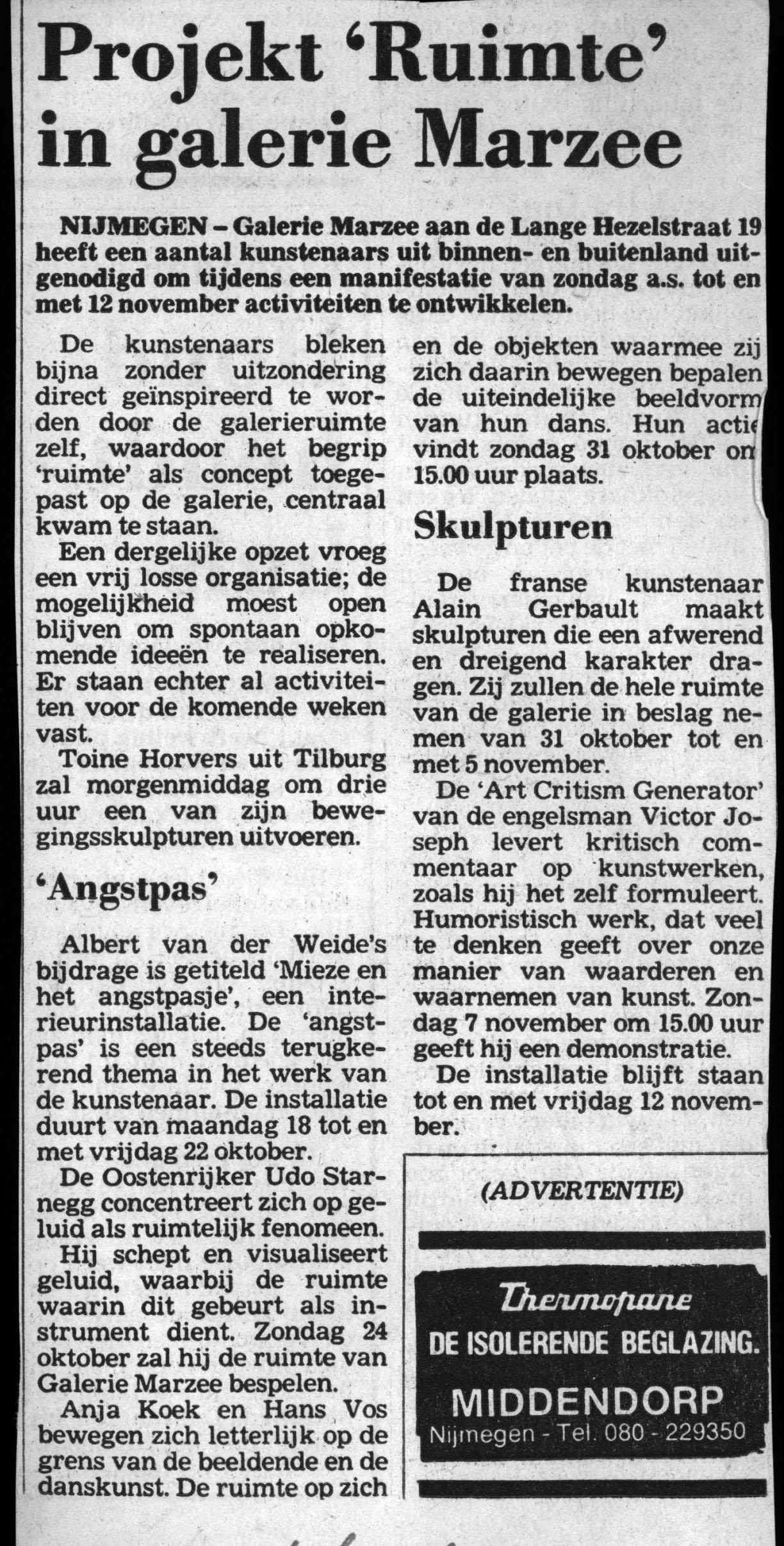 Projekt 'Ruimte' in Galerie Marzee, De Gelderlander, 16 oktober 1982, krant, drukwerk, papier