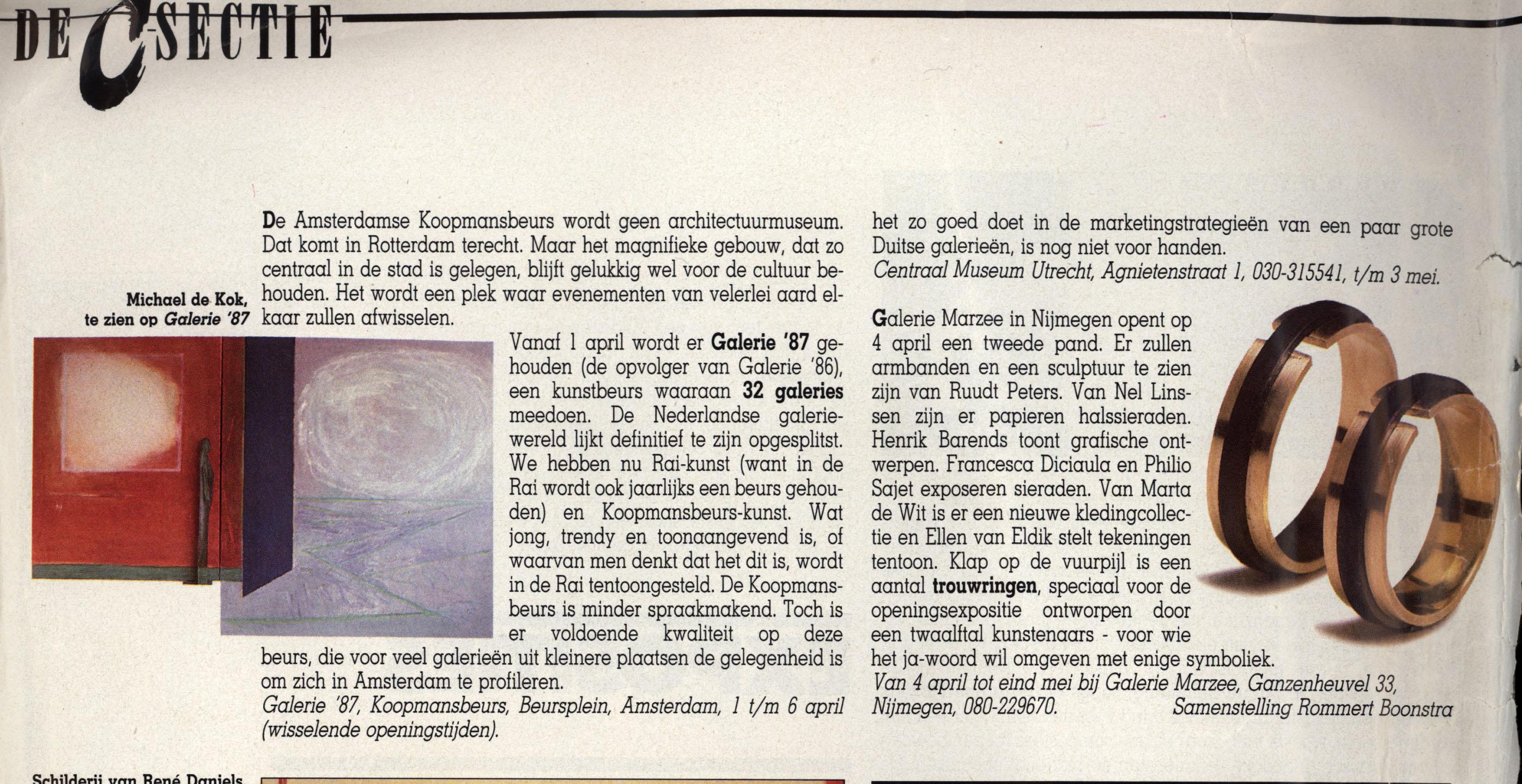 De C sectie, april 1987, tijdschrift, papier, drukwerk