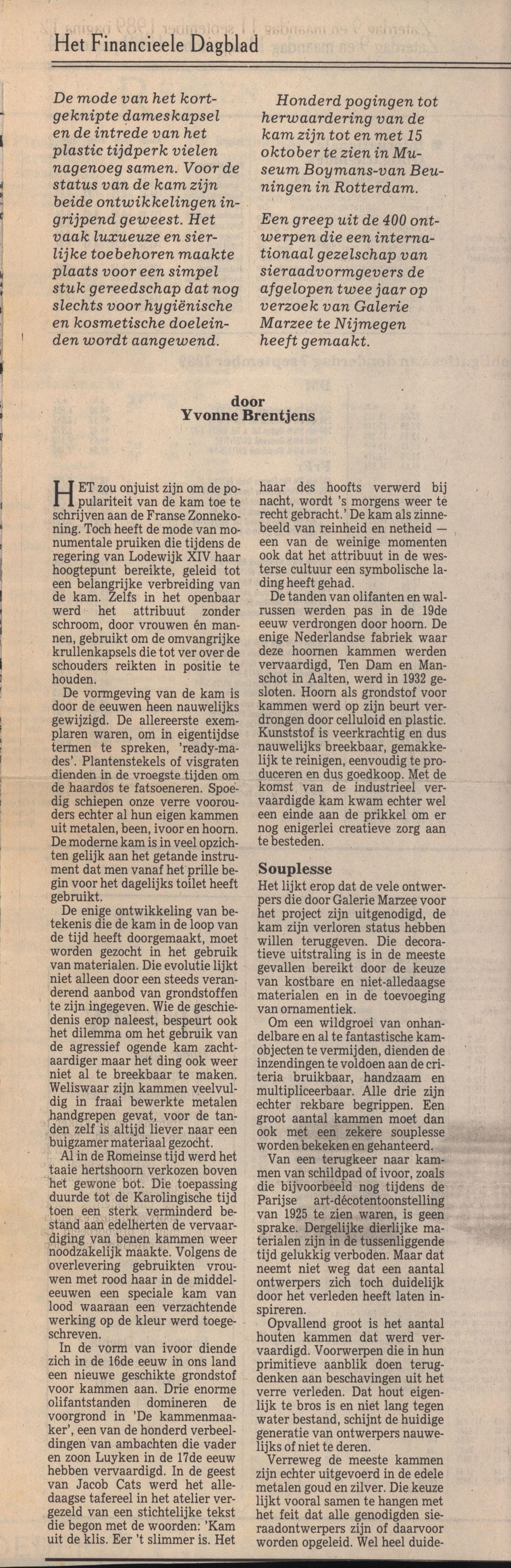 De kam en de tand des tijds, Financieel Dagblad, 11 september 1989, krant, papier, Yvonne Brentjens