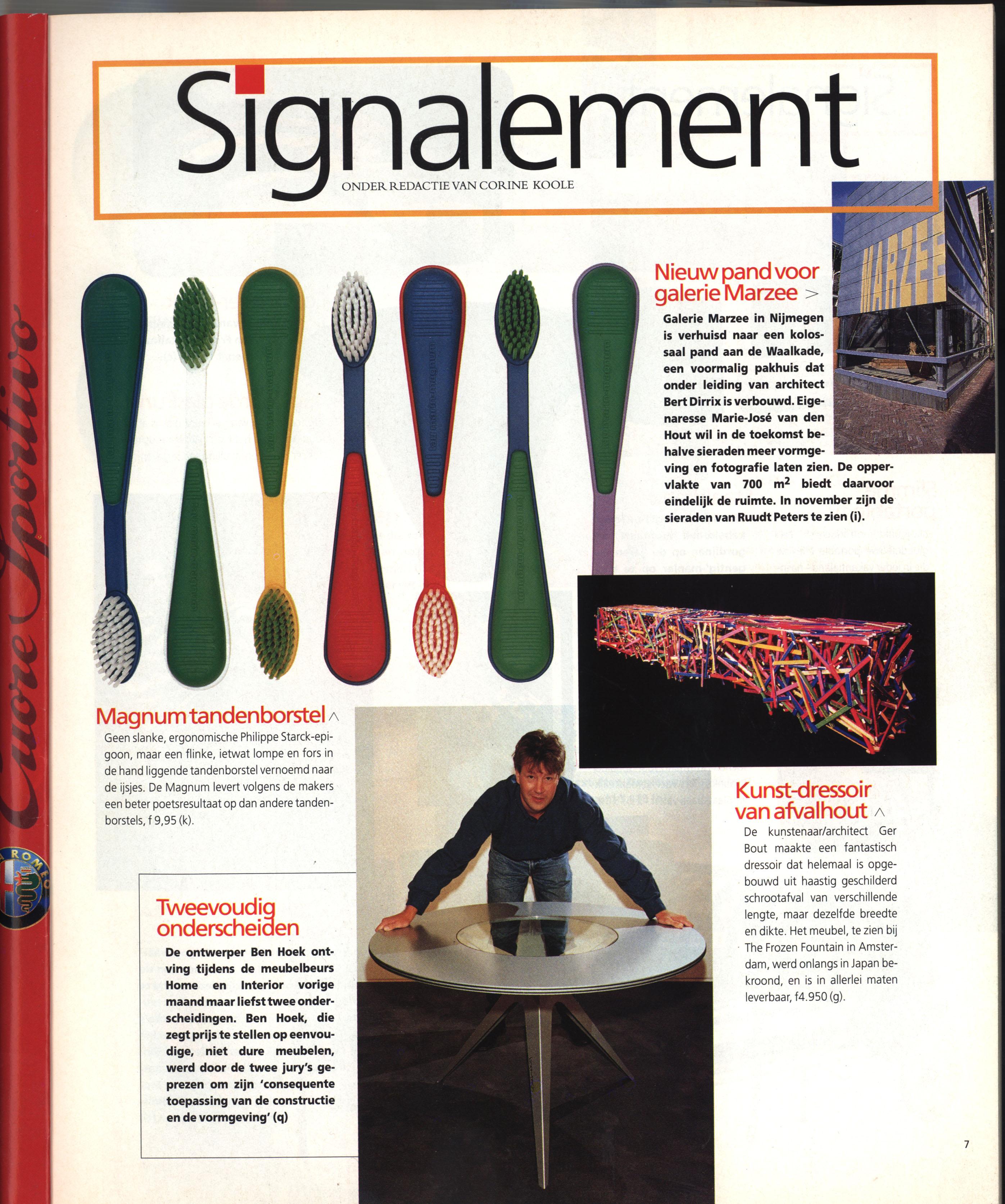 Eigen Huis, Signalement met Galerie Marzee, 1995, drukwerk, papier, tijdschrift