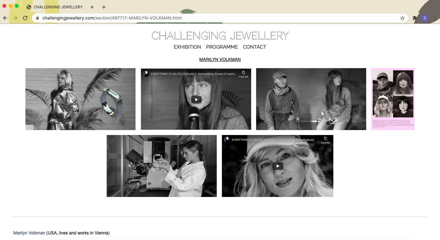 Schermafbeelding van Marilyn Volkmans pagina op de gezamenlijke website www.challengingjewellery.com