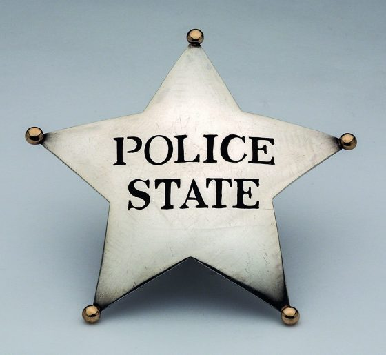 William Clark, Police State Badge, broche, 1969. Collectie Museum of Arts and Design, 2012.20. Foto John Bigelow Taylor, zilver, goud