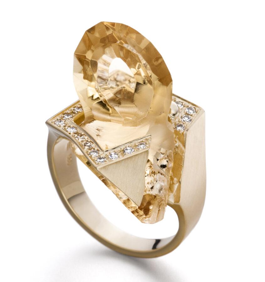 Annette Ehinger, Steinschlag, ring, goud, citrien, briljant