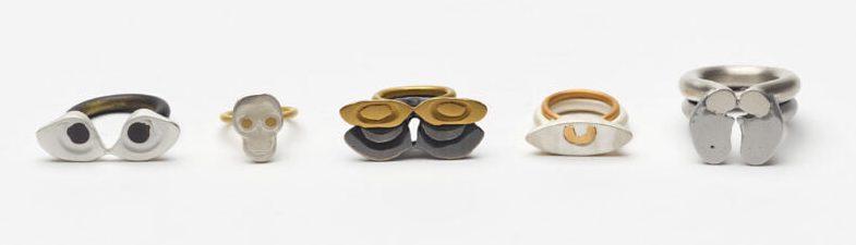 Kiko Gianocca, The Elephant on Mars Rings, ringen, 2016, aluminium, zilver, goud