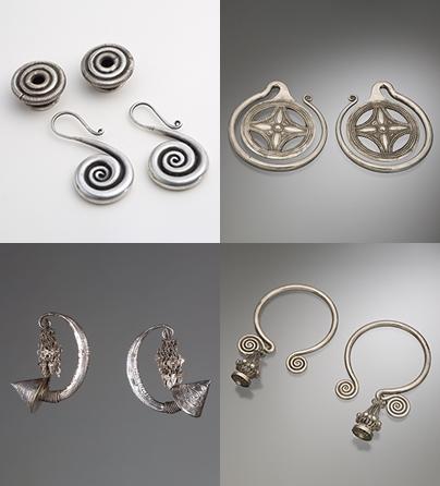 Oorsieraden, China, 1900-1999. Collectie World Jewellery Museum, zilver