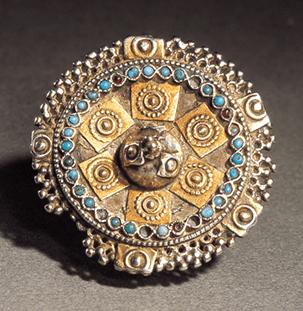 Ring. Collectie World Jewellery Museum, metaal, turkoois