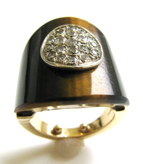 Ring, circa 1970. Foto Kimberly Klosterman, tijgeroog, diamant, goud