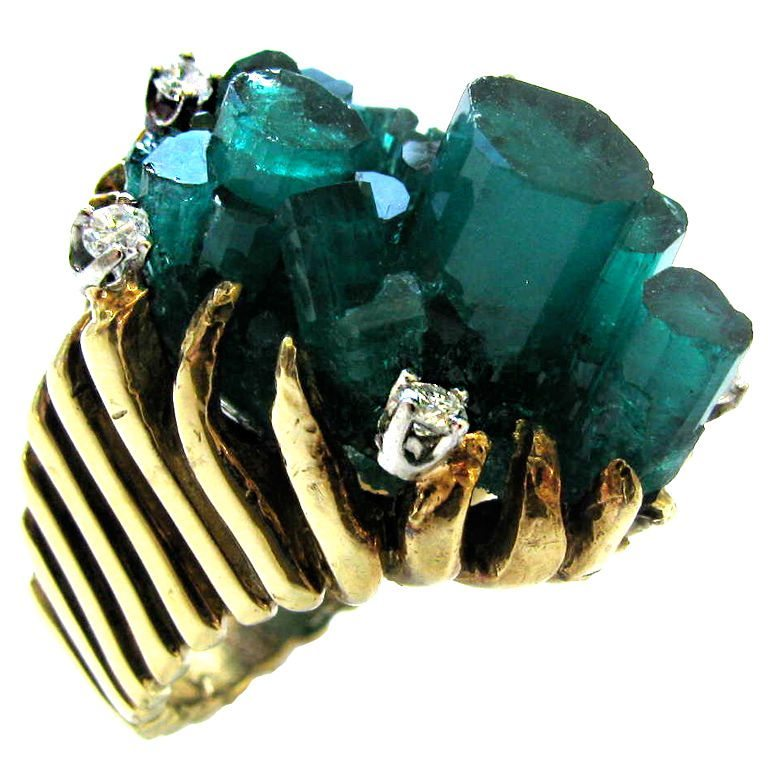 Ring, circa 1960. Foto Kimberly Klosterman, goud, diamant, smaragd