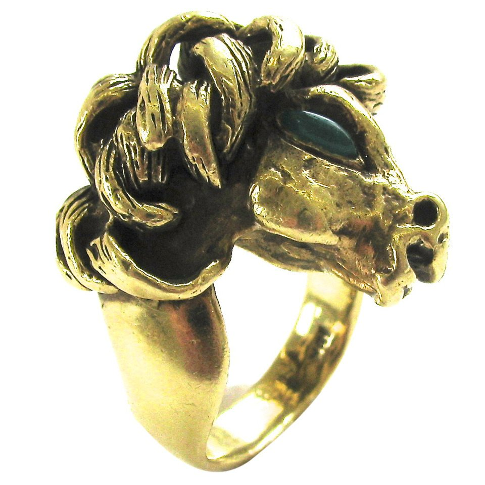 Ring, Verenigde Staten, circa 1950. Foto Kimberly Klosterman, goud, chrysopraas