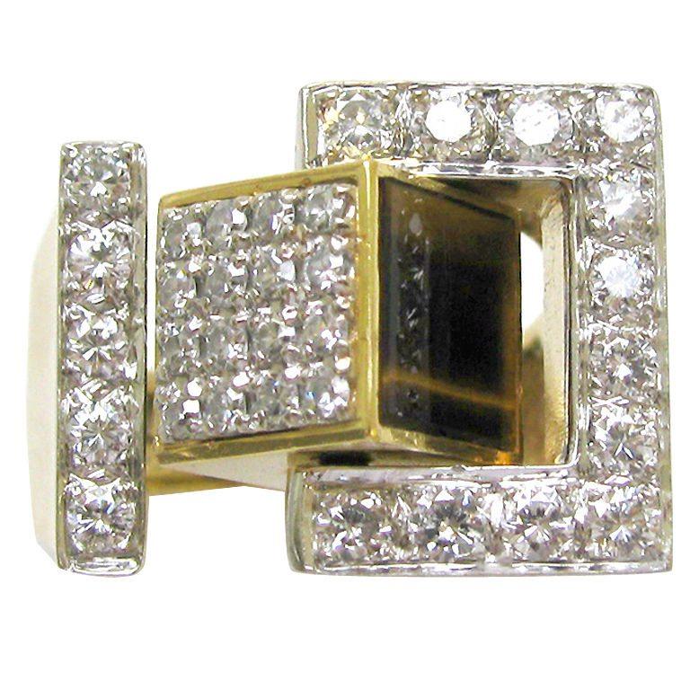 Ring, Verenigde Staten, circa 1970. Foto Kimberly Klosterman, goud, diamant, tijgeroog, lapis lazuli, witgoud