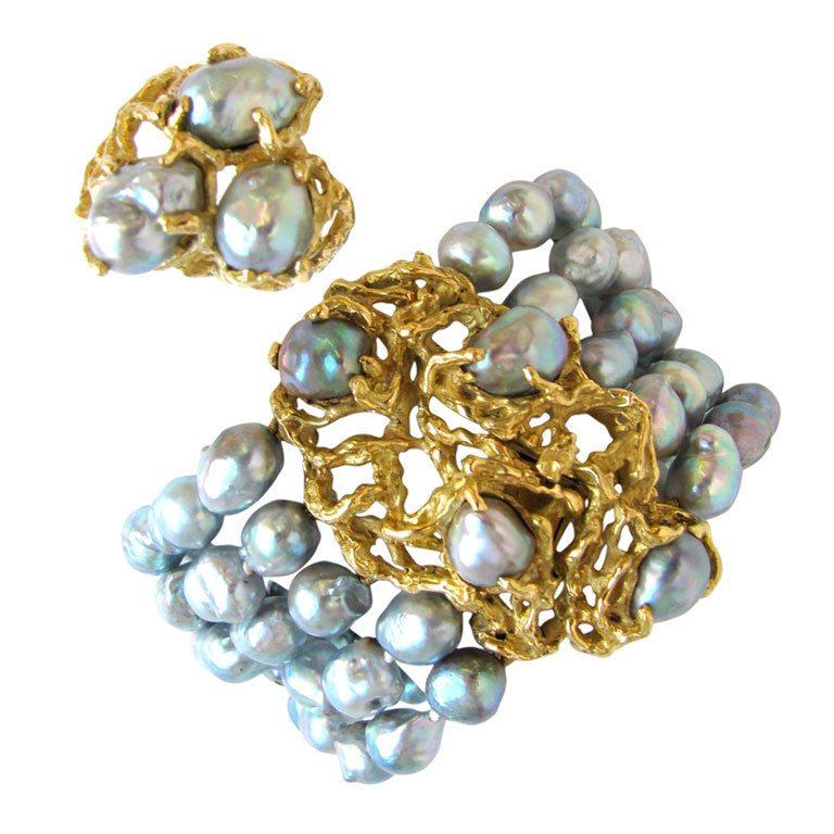 Toegeschreven aan Arthur King, ring en armband, Verenigde Staten, circa 1970. Foto Kimberly Klosterman, goud, parels,