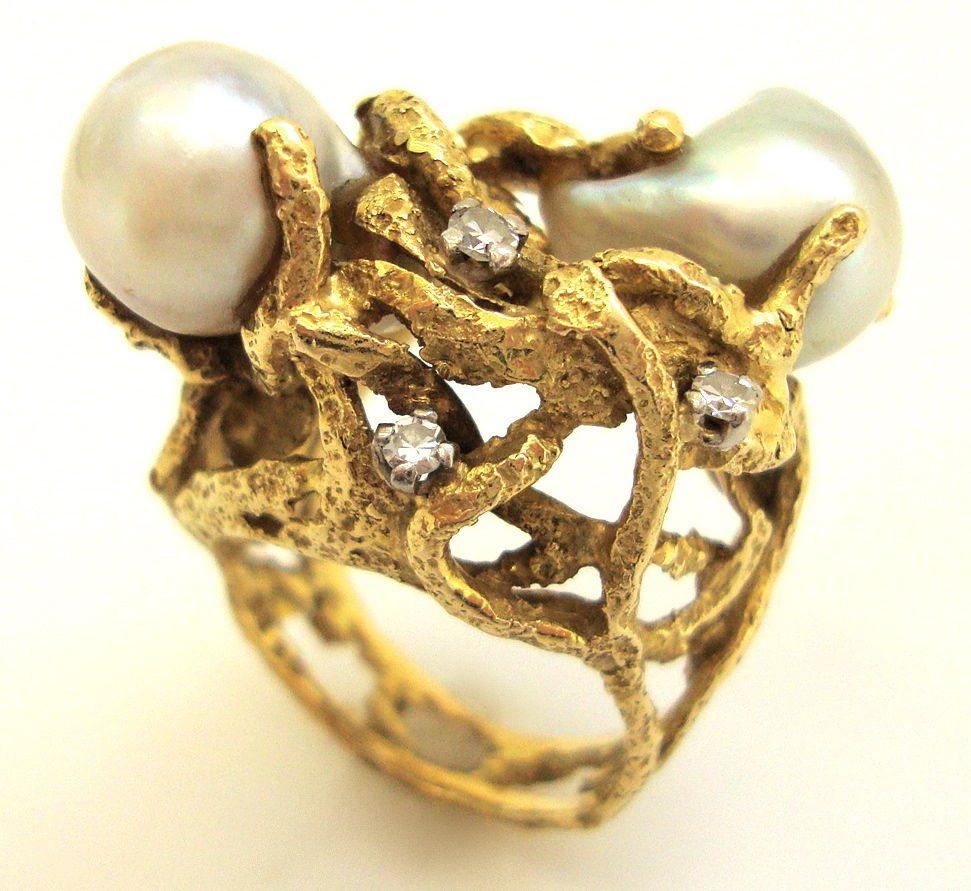 Charles de Temple, ring, circa 1960. Foto Kimberly Klosterman, goud, parel, diamant