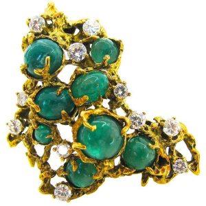 Arthur King, hanger/broche, circa 1970. Foto Kimberly Klosterman, goud, smaragd, diamant