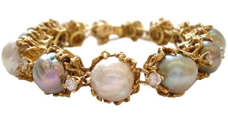 Arthur King, armband, circa 1970. Foto Kimberly Klosterman, goud, parel, diamant