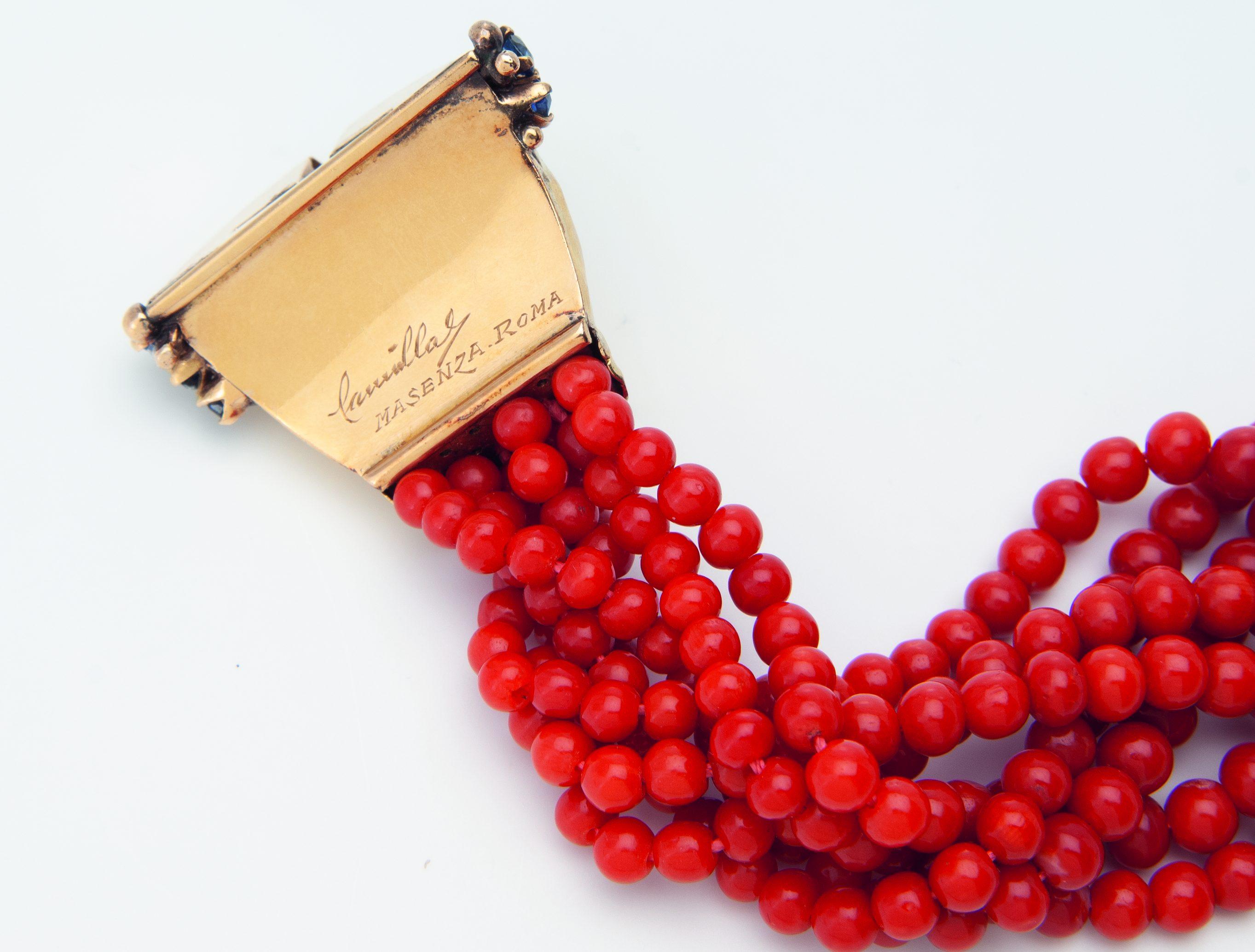 Franco Cannilla voor Mario Masenza, armband, circa 1949. Collectie Kimberly Klosterman. Foto Kimberly Klosterman, goud, koraal , meesterteken, diamant, saffier