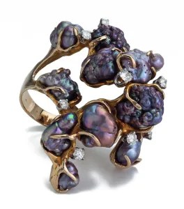 James Arnold Frew, ring, 1960-1969. Foto Kimberly Klosterman, goud, diamant, parel