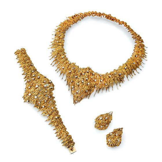Sven Boltenstern, armband, halssieraad en oorsieraden, circa 1975. Collectie Kimberly Klosterman. Foto Kimberly Klosterman, goud, diamant
