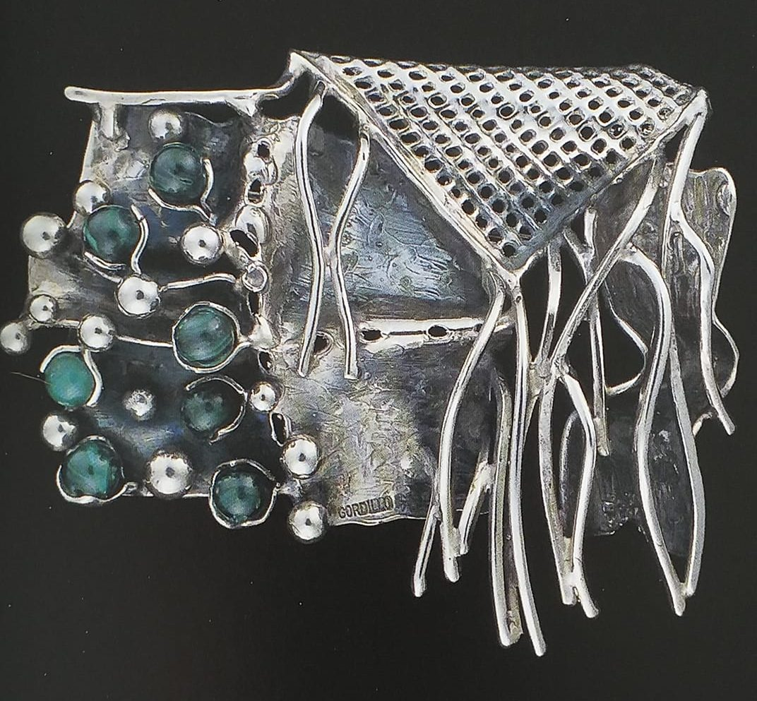 Alberto Gordillo, broche, 1980-1989, zilver, malachiet